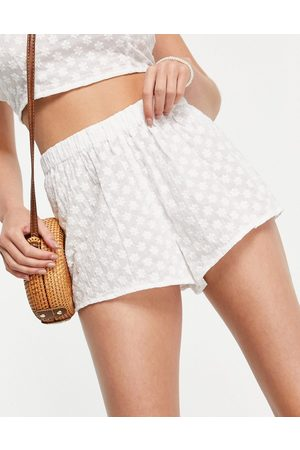 Fashion Union Broderie anglaise beach short co-ord in white