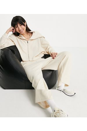 ASOS Tracksuit zip through hoodie / culotte trouser in fluffy texture in beige-White