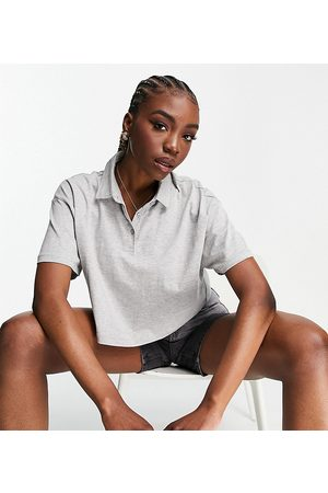 ASOS ASOS DESIGN Tall cropped boxy polo with short sleeve in grey marl