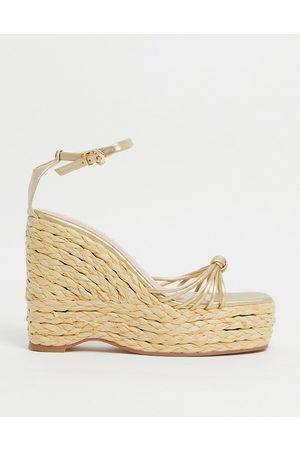 SIMMI Shoes Simmi London Nadir skinny strap espadrille wedge sandals in