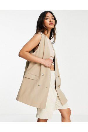 MANGO Sleeveless tailored double breasted waistcoat blazer co-ord in camel-Neutral