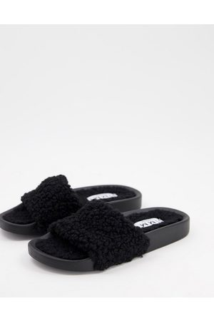SIMMI Shoes Simmi London Mahi summer fluff sliders in black