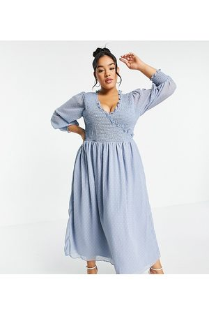 ASOS ASOS DESIGN Curve midi smock dress with shirred cuffs in dobby in blue
