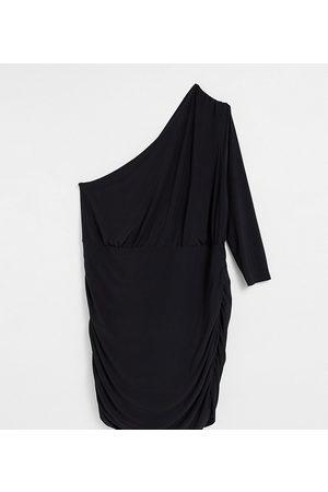 Club L London Plus Ruched one shoulder mini dress in black