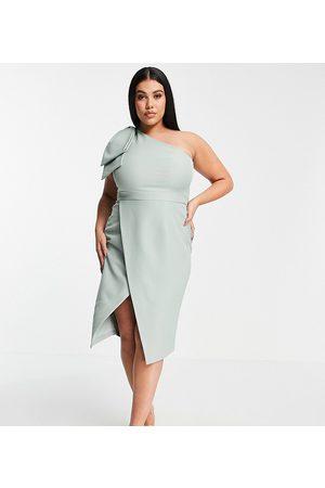 Lavish Alice Exclusive one shoulder bow detail midi pencil dress in sage green