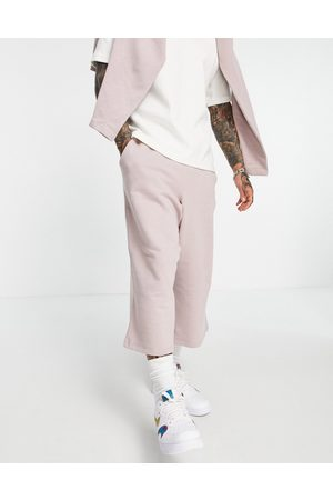 ASOS DESIGN Co-ord oversized wide leg cropped joggers in pink