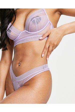 ASOS Fleur minimal mesh thong in lilac-Purple