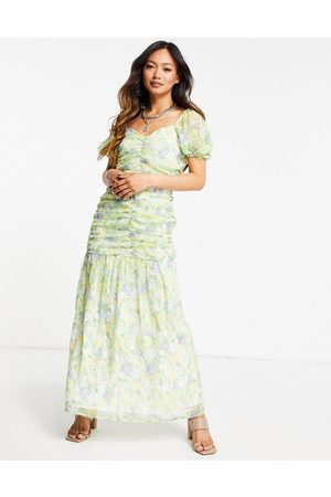 ASOS Ruched puff sleeve maxi dress in a white base with yellow and blue floral print-Multi