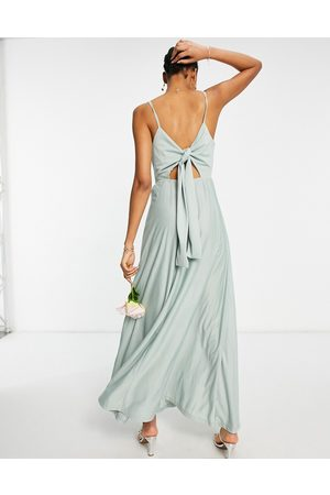 ASOS Wrap front tie back maxi dress in sage green