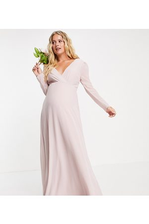 TFNC Bridesmaid wrap front maxi dress with back detail in mink-Pink