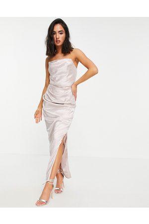 Chi Chi London Drape body dress in cream-White