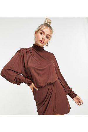 ASOS ASOS DESIGN Petite shoulder pad open back mini dress in brown-Multi