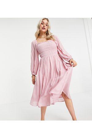 Y.A.S Midi dress in pink jacquard