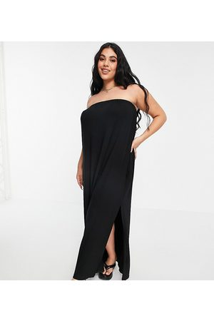 ASOS ASOS DESIGN Curve bandeau maxi sundress with pockets in black