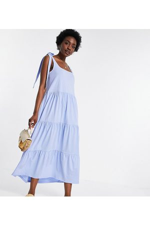 ASOS Tall square neck tie shoulder tiered maxi dress in chambray blue