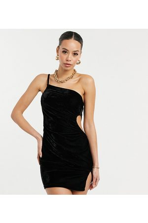 Parisian One shoulder cut out velvet dress in black