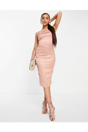 Love & Other Things Drape detail bodycon satin midi dress in pink