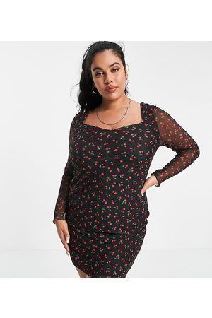 ASOS ASOS DESIGN Curve mesh ruched mini dress with long sleeves in black cherry print