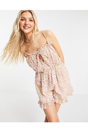 ASOS Lace insert dobby strappy playsuit in wallpaper floral-Multi