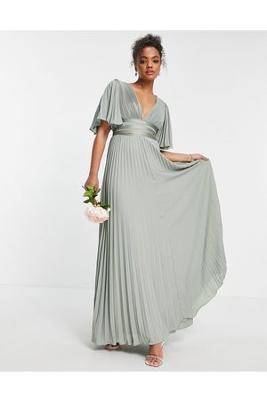 ASOS Bridesmaid pleated flutter sleeve maxi dress with satin wrap waist-Green