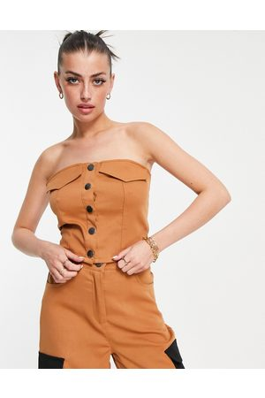 Annorlunda Strapless popper front bodice with contrast stitch co-ord-Neutral