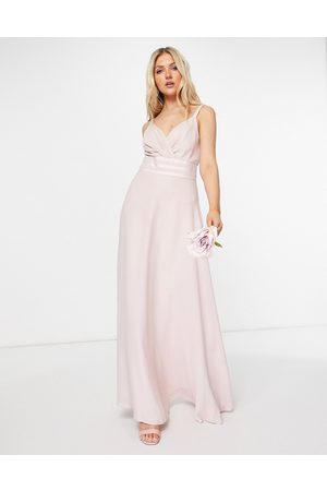 ASOS Bridesmaid pleated cami maxi dress with satin trim waist detail-Pink