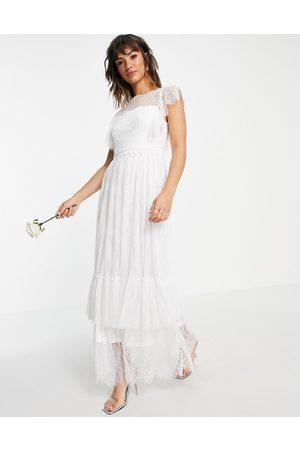 VILA Bridal A Line dress with deep v back and flutter sleeves in white