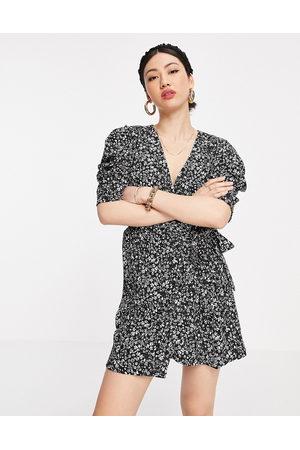 MANGO Ditsy floral wrap dress in black