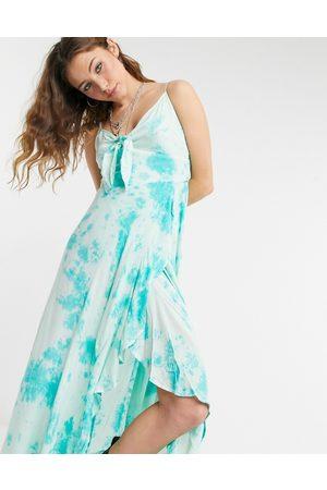 Lottie And Holly Asymmetric frill wrap cami maxi dress in tie dye-Green