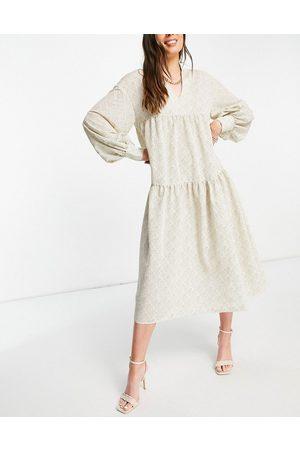 Pretty Lavish Petunia balloon sleeve midi dress in printed chiffon-Neutral