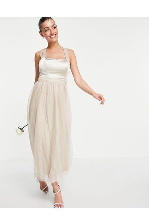 VILA Bridal dress with satin bodice and tuelle skirt in neutral-Grey