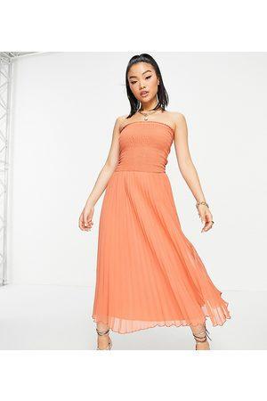 ASOS ASOS DESIGN Petite bandeau pleated maxi dress in rust-Red