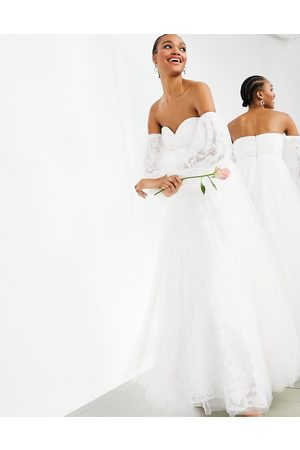 ASOS Mila off shoulder embroidered mesh wedding dress-White