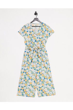 Monki Rocco jumpsuit with tie waist in retro floral print-Multi