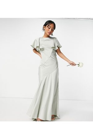ASOS ASOS DESIGN Petite Bridesmaid flutter sleeve satin maxi dress with button side detail in olive-Green