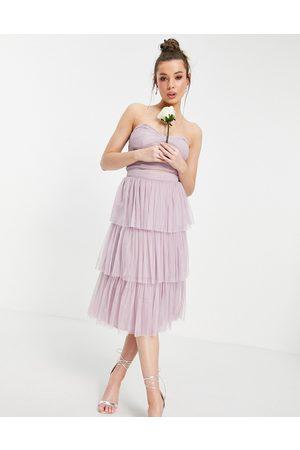 ANAYA With Love tiered ruffle midi skirt in lilac co-ord-Purple