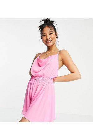 ASOS Damen Jumpsuits - ASOS DESIGN petite cowl neck skinny strap playsuit in pink
