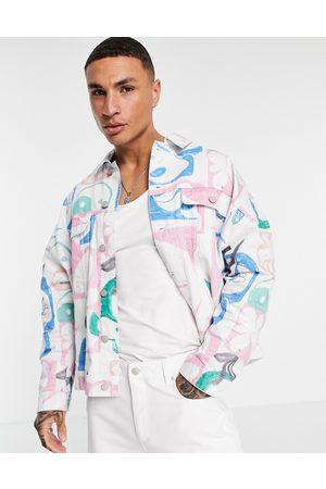 ASOS Herren Jeansjacken - Denim jacket with graffiti print in white
