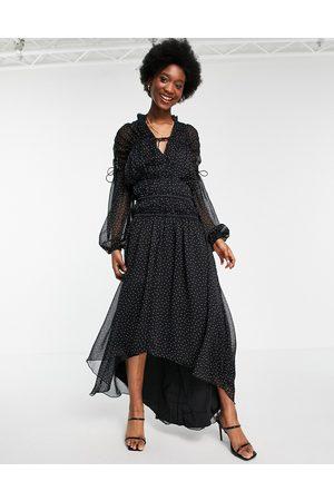 ASOS Damen Bedruckte Kleider - Tie neck maxi dress with blouson sleeve and multi channel waist in spot print