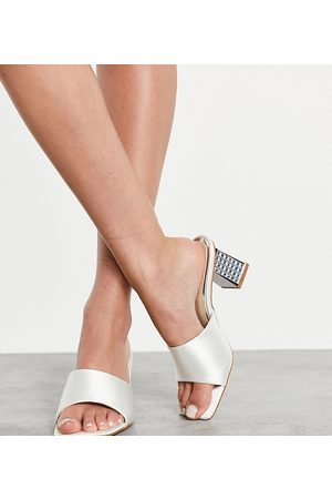 Be Mine Wide Fit Be Mine Bridal Wide Fit Pia diamante heeled mules in ivory satin-White