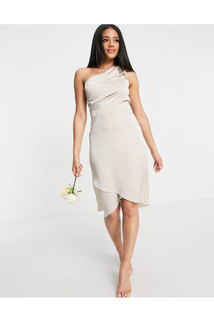 TFNC Bridesmaid one shoulder midi dress in mink-Pink