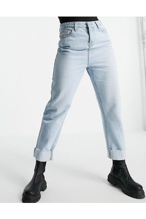 Urban Bliss Relaxed straight leg jeans with turn up in bleach wash-Blue