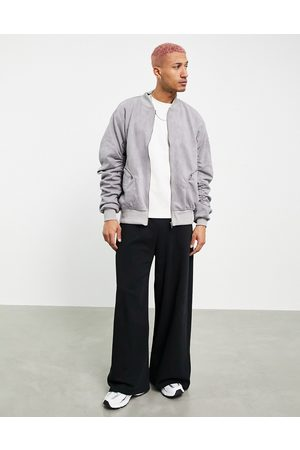 Liquor N Poker Bomber jacket in grey suede with rouched sleeves