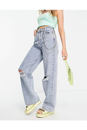 Minga London relaxed skater jeans with chain & angel bum embroidery-Blue