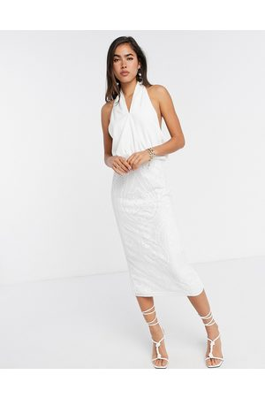 ASOS Damen Midikleider - Cross neck pencil midi dress with embroidered sequin skirt-White