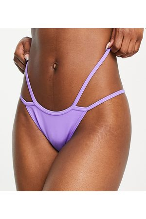 COLLUSION Recycled bikini bottom with double high thigh straps-Purple