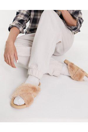 ASOS Fiona cross strap furry sliders in caramel-Neutral