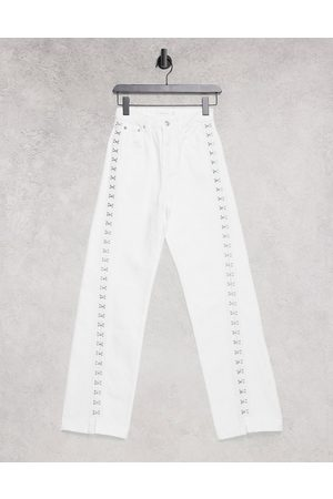Topshop 90's straight jean with hook and eye in white