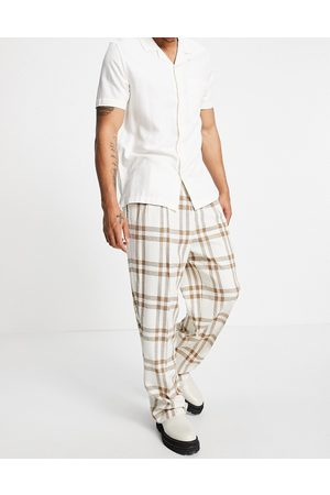 ASOS Wide leg smart trouser in crepe cream check-White