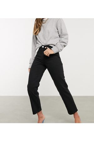 ASOS Damen Straight - High rise stretch 'slim' straight leg jeans in black
